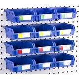 Right Arrange Pegboard Bins - 12 Pack Blue - Hooks to Any Peg Board - Organize Hardware, Accessories, Attachments, Workbench, Garage Storage, Craft Room, Tool Shed, Hobby Supplies, Small Parts