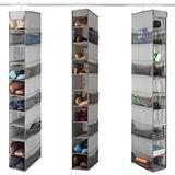ZOBER 10-Shelf Hanging Shoe Organizer (3 Pack) Hanging Closet Shoe Organizer with Side Mesh Pockets, Space Saving Shoe Holder & Storage, Closet Organizer Great for Shoes, Purses, Handbags Etc. (Grey)