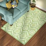 Charlton Home® Holmsten Floral Hand-Hooked Wool Green Area Rug Wool in Brown/White, Size 20.0 W x 0.25 D in | Wayfair
