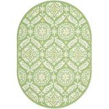 Charlton Home® Holmsten Floral Hand-Hooked Wool Green Area Rug Wool in Brown/White, Size 90.0 W x 0.25 D in | Wayfair