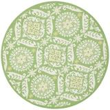 Charlton Home® Holmsten Floral Hand-Hooked Wool Green Area Rug Wool in Brown/White, Size 96.0 W x 0.25 D in | Wayfair