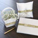 Gartner Studios Glitter Bow Flower Girl Basket in White/Yellow, Size 6.0 H x 4.0 W x 4.0 D in   Wayfair 21992