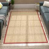 Andover Mills™ Jeremy Bamboo Slat/Seagrass Brown/Tan/Red Area Rug Bamboo Slat & Seagrass in White, Size 60.0 H x 36.0 W x 0.38 D in | Wayfair
