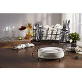 Inspired Living by Mesa Inspired Living Utensil Silverware Organizer in Black Rustic Collection Buffet Caddy,