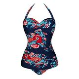 Angerella Navy Womens Floral Swimsuits One Piece Bathing Suit Cute 1 Piece Swimwear,2XL