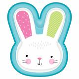 Amscan Easter Hello Bunny Shaped Paper Disposable Dinner Plate Paper in Blue/Green/Pink | Wayfair 430822