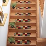 Winston Porter Anijae Checker Oval Black/Red Stair Tread Synthetic Fiber, Size 0.2 H x 26.0 W x 9.0 D in | Wayfair ABA1543B84D34615828EA4B8CC29DEDC