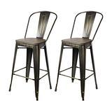 GIA High Back Armless Metal Bar Chair, 2-Pack, Antique Black/Dark Wood