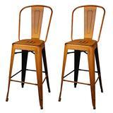 GIA High Back Armless Metal Bar Chair, 2-Pack, Antique Orange