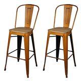 GIA High Back Armless Metal Bar Chair, 2-Pack, Antique Orange/Light Wood