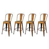 GIA High Back Armless Metal Bar Chair, 4-Pack, Antique Orange/Light Wood