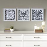 Black & White Tiles 3 Piece Deco Box Wall Art Gel Coating - Madison Park MP95B-0190