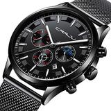 Mens Classic Analog Quartz Chronograph Watch Stainless Steel Mesh Band Casual Wrist Watches