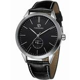 Men's Minimalist White Dial Automatic Watch Stainless Steel with Leather Strap Mechanical Watch for Men (Silver Black)