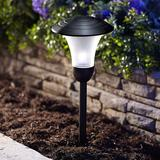 Moonrays Solar Powered Integrated LED Metal Pathway Light Metal in Black, Size 20.0 H x 6.5 W x 6.5 D in | Wayfair 95558