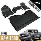 3D MAXpider All-Weather Floor Mats for Dodge Ram 1500 Crew Cab 2019-2020 (1st Row Bench Seat, 2nd Row w/o underseat Storage) Custom Fit Car Floor Liners, Kagu Series (1st & 2nd Row, Black)