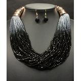 Ella & Elly Women's Necklaces Black - Black & Goldtone Bead Layered Statement Necklace & Drop Earrings