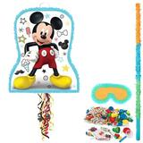 Mickey Mouse on the Go Pull String Pinata Paper Disposable Decoration Kit Set Paper in Black/Red/Yellow   Wayfair 267344