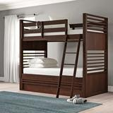 Grovelane Stepplee Bunk Bed w/ Trundle Wood/Solid Wood in Brown, Size 44.0 W in   Wayfair AAEFCBF10B034B2F80DD83BFF6E7989F