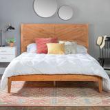Delacora WE-BDWQCHEV Queen Solid Pine Wood Transitional Platform Bed Caramel