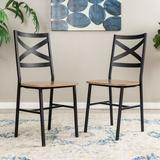 "Delacora WE-BDH18AI2 17"" Wide Industrial 2 Piece Steel Framed Laminate Dining Chair Set Driftwood"