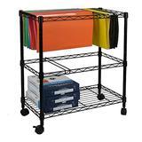 Binlin Mobile File Cart on Wheels Wire Metal Rolling Letter Legal File Carts Compact Swivel File Storage Organizer Shelf - Black (2 Tier)