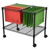 Binlin Mobile File Cart Wire Metal Rolling Letter Legal 1-Tier File Carts Compact Swivel File Storage Organizer Shelf - Black