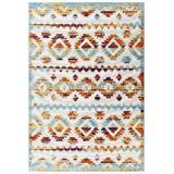 Reflect Takara Distressed Contemporary Abstract Diamond Moroccan Trellis 5x8 Indoor and Outdoor Area Rug R-1180B-58