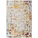 Reflect Primrose Distressed Vintage Ornate Floral Lattice 8x10 Indoor and Outdoor Area Rug R-1179A-810