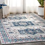 JONATHAN Y MDP108A-5 Modern Persian Vintage Moroccan Area Rug, Country, Easy Cleaning,For Bed,Kitchen,Living Rooms, Non Shedding Area Rugs 5 X 8 Light Gray,Blue
