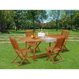Longshore Tides Rey 5 Piece Patio Dining Set Wood in Brown/White, Size 29.5 H x 35.6 D in   Wayfair 99431DB1E8CE42BEB66634F1B90CD386