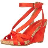 Aerosoles Fashion Plush Wedge Sandal, ORANGE FABRIC, 5.5 M US