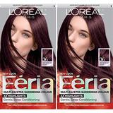 L'Oreal Paris Feria Multi-Faceted Shimmering Permanent Hair Color, Chocolate Cherry, Pack of 2, Hair Dye
