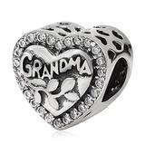 Love Grandma Charm 925 Sterling Silver Heart Beads fit Woman Charm Bracelets