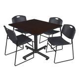 """Kobe 48"""" Square Breakroom Table in Mocha Walnut & 4 Zeng Stack Chairs in Black - Regency TKB4848MW44BK"""