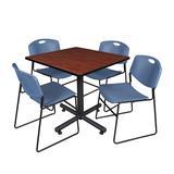 """Kobe 36"""" Square Breakroom Table in Cherry & 4 Zeng Stack Chairs in Blue - Regency TKB3636CH44BE"""