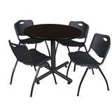 """Kobe 36"""" Round Breakroom Table in Mocha Walnut & 4 'M' Stack Chairs in Black - Regency TKB36RNDMW47BK"""
