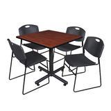 """""""Kobe 42"""""""" Square Breakroom Table in Cherry & 4 Zeng Stack Chairs in Black - Regency TKB4242CH44BK"""""""