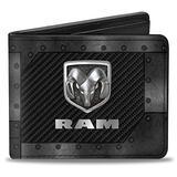 Buckle-Down mens Buckle-down Pu Bifold - Ram Logo Armor Black/Grays/Silvers Bi Fold Wallet, Multicolor, 4.0 x 3.5 US