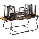 Inspired Living by Mesa Grid Twist Buffet Caddy with Woven Accents and Wood Handles utensil-racks, WICKER