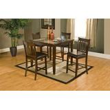 Benjara Benzara Wooden Counter Height Pub Table Set with Faux Marble Top, Pack of Five, Brown,