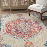 Bungalow Rose Lathan Floral Beige/Orange Area Rug Polypropylene in White, Size 36.0 W x 0.35 D in | Wayfair 0123A28EA33948609B7B72A10A60BF39