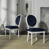 Holloway Tufted Oval Side Chair in Navy/White (Set of 2) - Safavieh FOX6235A-SET2