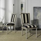 Buchanan 19''H French Brasserie Striped Linen Rect Side Chair in Black/Ivory/Rustic Grey (Set of 2) - Safavieh FOX6229N-SET2