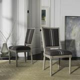 Buchanan 19''H French Brasserie Linen Rect Side Chair in Grey/Beige/Rustic Grey (Set of 2) - Safavieh FOX6229M-SET2