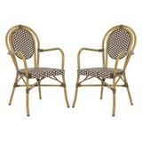 Rosen French Bistro Stacking Arm Chair in Brown/White (Set of 2) - Safavieh PAT4014C-SET2