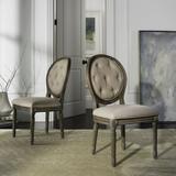 Holloway Tufted Oval Side Chair in Beige/Rustic Oak (Set of 2) - Safavieh FOX6235B-SET2
