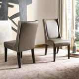 Sher 19''H Side Chair - Silver Nail Heads in Clay/Espresso (Set of 2) - Safavieh MCR4714B-SET2