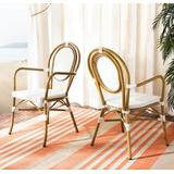 Rosen French Bistro Stacking Arm Chair in White (Set of 2) - Safavieh PAT4014D-SET2