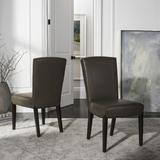 Ken 19''H Leather Side Chair in Clay/Cherry Mahogany (Set of 2) - Safavieh HUD8200B-SET2